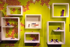 Retail Design of the Kensiegirl Showroom in midtown Manhattan (New York) attempts to personify the chic, evocative and whimsical style of the brand. Kensiegirl line of clothing and shoes is fresh and modern with several vintage influences. Cute Furniture, Furniture Ideas, Shoe Store Design, Fashion Showroom, Fluorescent Colors, Cute Bedroom Ideas, Mobile Boutique, Showroom Design, Whimsical Fashion