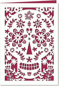 Silhouette Design Store - View Design #67505: halloween sugar skull day of the dead 7x5 papercut card