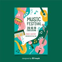 Instruments and waves music festival poster Free Vector Music Festival Info in nice green font Event Poster Design, Event Posters, Graphic Design Posters, Graphic Design Inspiration, Flyer Design, Web Design, Logo Design, Theatre Posters, Poster Designs