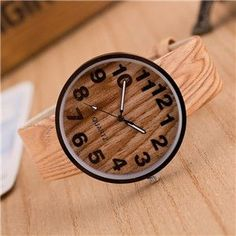 Fashion vintage leather Wood grain Analog quartz-watch hour clock female watch women Femme watch