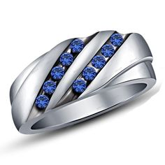 0.60 CT. T.W. Round Blue Sapphire in Silver Plated  Men's Band Ring  #Affoin8 #MensBandRing