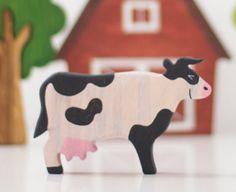Animaux de ferme vache jouet en bois figurines animaux en bois d'apprentissage jouets Montessori jouets Waldorf nature tableau éducatif jouets fait main