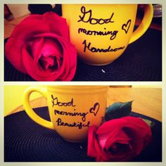 My DIY coffee mug.  This was so easy. Just use a sharpie to write your favorite saying, and then bake in the oven at 350 for 30 minutes.