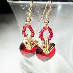 Valentine's Swarovski Siam Crystal Hearts and by BohemianIce, $14.00  Great Valentine's Day gift idea!