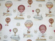 French Balloons Linen Curtain Fabric White by themillshoponline