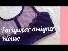 Partywear designer blouse by fashion fashion Netted Blouse Designs, Blouse Back Neck Designs, Sari Blouse Designs, Designer Blouse Patterns, Fancy Blouse Designs, Salwar Neck Designs, Neck Designs For Suits, Blouse Tutorial, Kurti Designs Party Wear