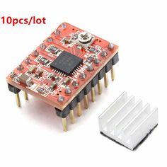Free Shipping 10Pcs/lot 3D Printer A4988 Reprap Stepping Stepper Step Motor Driver Module board with Heatsink