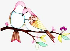 New Ideas Love Bird Illustration Sweets Love Birds Drawing, Love Birds Painting, Bird Drawings, Pencil Art Drawings, Colorful Drawings, Art Drawings Sketches, Fabric Painting, Easy Drawings, Vogel Clipart
