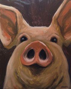 """PIG ART PAINTING HOME RESTAURANT FARM BARN DECOR """"Big Amos"""" Oil on Canvas 16""""x20"""""""