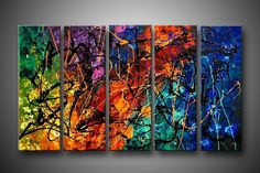paint splatter wall decor - instead of one huge canvas use a series but paint them all together so the splatters are continuous