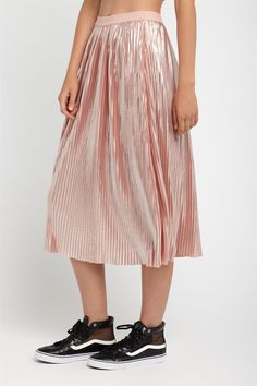 Factorie PLEATED FOIL MIDI SKIRT