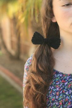 Radical Hand Knitted Bow Hair Tie  Black by SmoothAsEggs