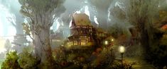 """phoenixfire-art: """" Final Fantasy XIV - Capital Cities & Linkshell Concept Artworks by Akihiko Yoshida & Co. Final Fantasy XIV is one game that just didn't get off the ground. Fantasy Forest, Fantasy City, Fantasy House, Fantasy Places, Final Fantasy Xiv, Fantasy Village, Fantasy Rpg, Forest Wallpaper, City Wallpaper"""