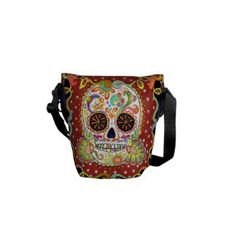 Day of the Dead Sugar Skull Art Mini Messenger Bag Unusual Christmas Gifts, Christmas Gifts For Boyfriend, Boyfriend Gifts, Custom Messenger Bags, Cool Messenger Bags, Sugar Skull Art, Sugar Skulls, Skull Fashion, Funky Design