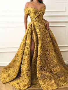 Details - Cyber yellow dress color - Taft fabric with flowery patterns - A-line shape with an open leg - Party and prom night dress Trendy Dresses, Elegant Dresses, Fashion Dresses, Formal Dresses, Prom Night Dress, Gala Dresses, Dresses Uk, Mode Inspiration, Yellow Dress