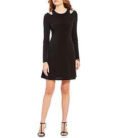 Ivanka Trump Lond Sleeve CutOut Shoulder Solid Matte Jersey ALine Dress #Dillards
