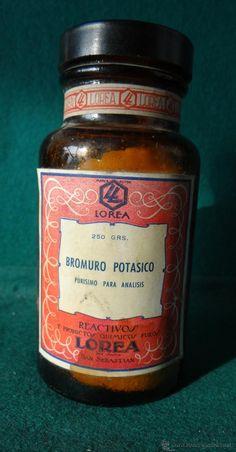 ANTIGUO FRASCO FARMACIA - BROMURO POTASICO - LOREA - SAN SEBASTIAN - MOVIL 50 CTS. - AÑOS 1940,s - ------- estalcon@gmail.com