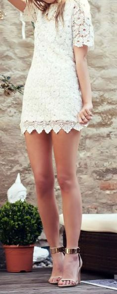 White Floral Lace Short Sleeved Dress
