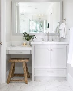 Might be nice for kid bathroom vanity. Unlike floor tiles as well Picturesque vanity in this master bath suite 👌🏼 Architect:… Bathroom Interior Design, Decor Interior Design, Interior Decorating, Decorating Ideas, Decor Ideas, Small Bathroom, Master Bathroom, Bathroom Vanities, Bathroom Ideas