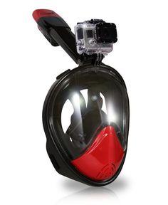 AquaMask – Full Face Snorkel Mask (Black-Red)