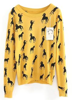 Pull-over à motif cheval mince -Jaune  21.25