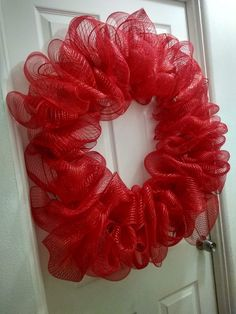 Red Wreath, Round Bubble Deco Mesh for Spring, Holiday Party, Everyday, Farmhouse-style Home Door Entryway Decor - 18 inches / Yellow
