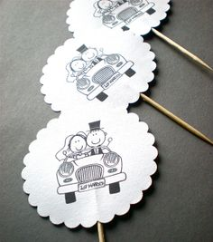 Just Married by Car  Wedding Toppers  Hand Punched by decoraland, €8.99