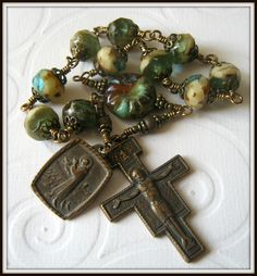 Bronze St. Francis Rosary Tenner, Wire Wrapped. $55.00, via Etsy.