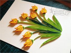 Tulips #handmade #quilling #tulip #flower #paper #picture