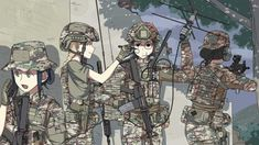 Anime girls with guns part & Manga Anime Military, Military Girl, Anime Art Girl, Anime Girls, Military Archives, Super Anime, Girls Frontline, Military Personnel, Manga Pictures