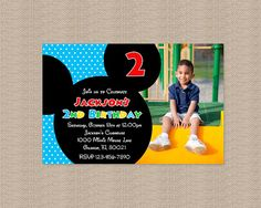 Mickey Mouse Clubhouse Birthday Party Invitation - Inspired by Mickey Mouse - Mickey Mouse Birthday Invitation Mickey Mouse Clubhouse Birthday Party, Mickey Birthday, Mickey Party, 3rd Birthday Parties, Birthday Fun, Birthday Party Invitations, Birthday Ideas, Kids Party Themes, Party Ideas