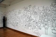 On day...I WILL doodle on my WALLS....Jon Burgerman illustration doodle