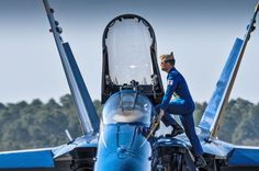 One Last TIme - As the sun sets, Blue Angels Boss, Captain Greg McWherter, steps down from his F-18 Hornet for the last time.