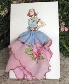 Items similar to 1925 Rochas Taffeta Dress Keepsake Hanky Card on Etsy site has many different styles Inchies, Handkerchief Crafts, Diy And Crafts, Paper Crafts, Dress Card, Taffeta Dress, Gown, Vintage Handkerchiefs, Vintage Cards
