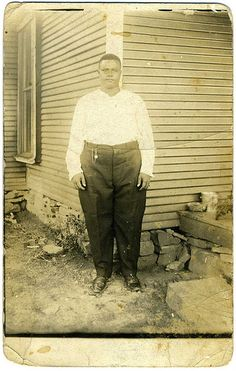 Real Photo Postcard: Somewhat Oversized Young Man