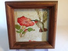 Vintage Painting of Hummingbird & Flower Painted on Tile with Wood Frame