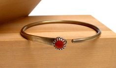Brass Bangle Bracelet with Red Coral and Brass by ajjewelrydesigns
