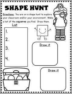 2D Shape Scavenger Hunt.  Kinder shapes activities.  Preschool shapes activities.  First grade shapes worksheets.  #shapes #kindermath #firstgrade #preschool