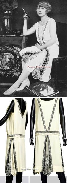 Evening gown, Patou, 1927. Ivory silk crepe trimmed with inlaid black braid embroidered with glass beads & rhinestones in a geometrical pattern. Eleanora Ambrose, an American dancer popular in the 1920s, wearing the dress. (It recently sold for over €27,000 at auction.)