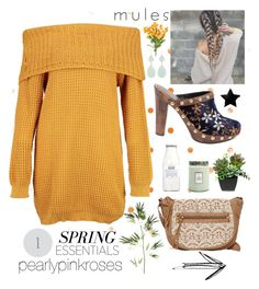 """Spring Essentials: Mules"" by pearlypinkroses ❤ liked on Polyvore featuring Miu Miu, Boohoo, T-shirt & Jeans, Rituals, Voluspa, Kenneth Jay Lane and Pier 1 Imports"