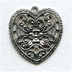 European Made Floral Heart Pendant Oxidized Silver 34mm