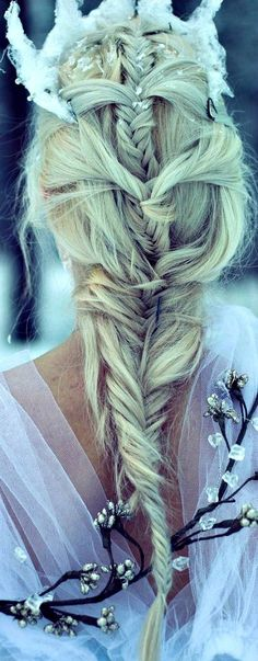 Modern fairytale hairstyle. Fairy tale fashion fantasy in white. Snow / Ice Queen.