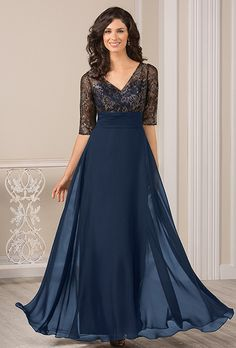 Brides: Jade by Jasmine. Chiffon A-line gown with contrasting lace half-sleeve top.