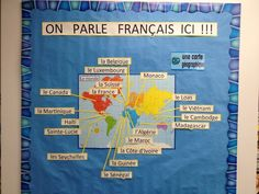 On Parle Francais Ici! French Teacher, Teaching French, French Bulletin Boards, French Classroom Decor, Les Seychelles, High School French, Classroom Displays, Classroom Themes, French Songs