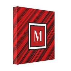 Monogram Red and Black Diagonal Stripes Canvas Print - stripes gifts cyo unique style