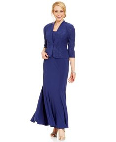 Alex Evenings Sleeveless Jacquard Sparkle Gown and Jacket $109 T16W