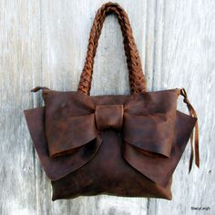 Leather Bow Petite Handbag in Distressed Chocolate Brown -Feminine - Rustic Soft Leather - Small Handbag - Leather Bow Purse by Stacy Leigh Leather Bow, Soft Leather, Braided Leather, Bow Purse, Double Braid, Suede Fabric, Lace Trim, Leather Backpack, Feminine