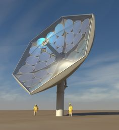 Rendering by Airlight Energy of the prototype HCPVT system under development.    The prototype HCPVT system under development uses a large parabolic dish, made from a multitude of mirror facets, which is attached to a tracking system that determines the best angle based on the position of the sun. Once aligned, the sun's rays reflect off the mirror onto several microchannel-liquid cooled receivers with triple junction photovoltaic chips.