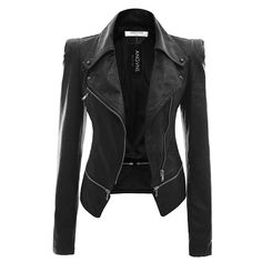 Women Jackets, PU Leather Jacket, Army Green, Beige, Khaki, Black