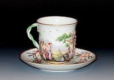 Antique Capodimonte cup and saucer, Circa early/mid 19th century Italian Porcelain Brush Pot Vase Putti Cherubs Relief
